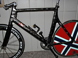 Lis' original Kestrel Km40, complete with evil custom paint, J-disc, and topline cranks - soon to be a museum piece