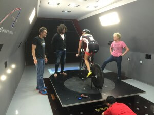 With Leanda Cave and the Ventum crew Diaa Nour and Jimmy Seear in the A2 wind tunnel